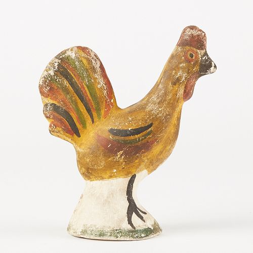 19th c. Polychrome Chalkware Rooster