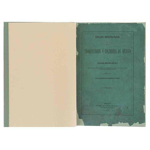 Montes de Oca, Rafael. Ensayo Ornitológico de los Troquilideos o Colibríes de México. México, 1875. Primera edición. 12 láminas.