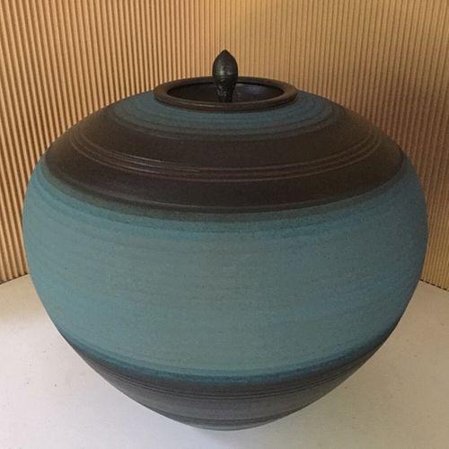 Stephen Merritt Large Blue Ceramic Ceremonial Jar