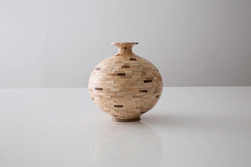 STACKED Patterned Sphere #2, Maple + Walnut