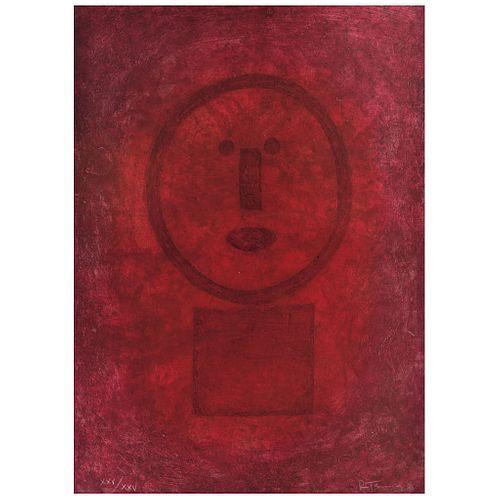 "RUFINO TAMAYO, Cara en rojo, 1977, Signed, Myxography XXV / XXV, 27.5 x 19.6"" (70 x 50 cm)"