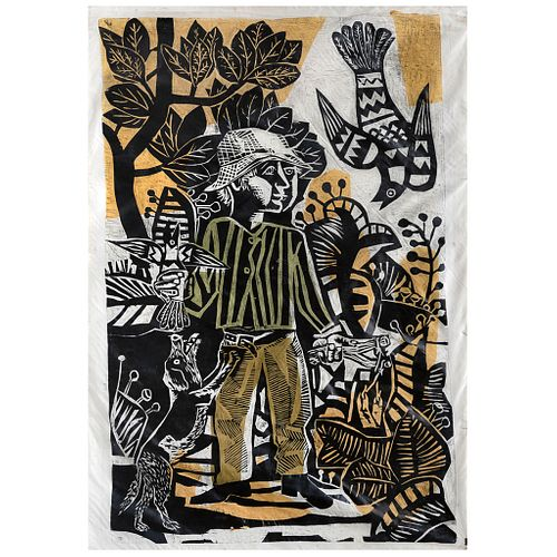 "ANTONIO BERNI, series Juanito Laguna, ""Juanito cazando pájaritos"", Signed, Xillocollage, 68.5 x 50.3"" (174x128 cm)"