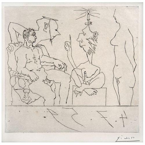 """PABLO PICASSO, Philosophe discourant devant un notable, avec femme nue á droite, Signed, Dry point, 9.4 x 9.8"""" (24 x 25 cm)"""