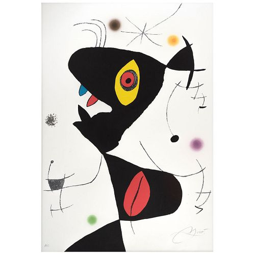 """JOAN MIRÓ, Untitled, Oda a Joan Miró, Signed in pencil, Lithography H. C., 33.8 x 23.2"""" (86 x 59 cm)"""