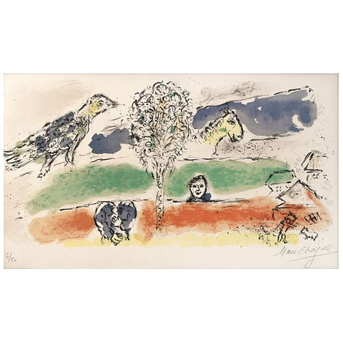 "MARC CHAGALL, Le fleuve vert, 1974, Signed, Chromolithography 6 / 50, 13.3 x 21.6"" (34 x 55 cm)"