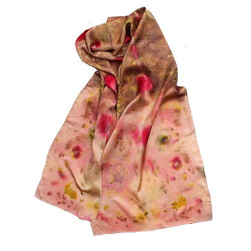 Organic silk satin shawl: Blazing blooms, pink, red and brown
