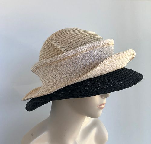 Molly Bloom, light cream & black with two piece brim