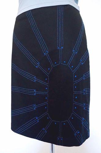 """Black/Blue """"Booster"""" Stitch, Stretch, Pencil Skirt (SIZE L)"""