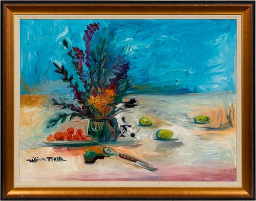 WILLIAM TOLLIVER, TABLETOP STILL LIFE WITH FLOWERS