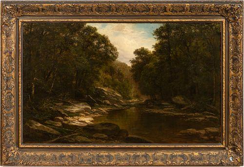 1872, GEORGE HETZEL, RIVER LANDSCAPE, PERIOD FRAME