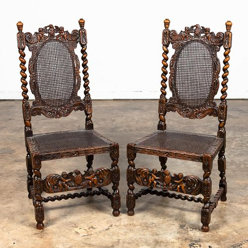 PR. ORNATELY CARVED FLEMISH STYLE SIDE CHAIRS