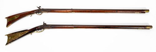 TWO ROGERS BROTHERS LONG PERCUSSION RIFLES