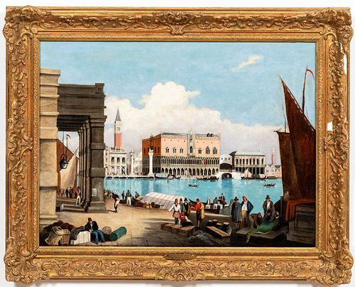 SAMUEL PROUT, DOGE'S PALACE, SIGNED OIL ON CANVAS
