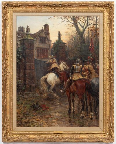"""ERNEST CROFTS, """"UNEXPECTED VISITORS"""" OIL, 1894"""