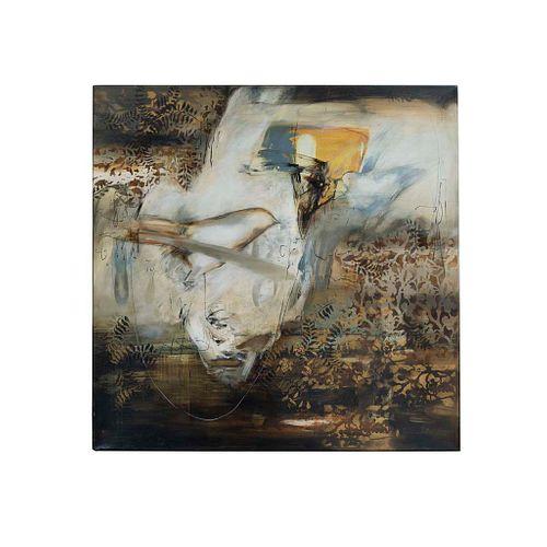 Lupina Flores. De la Serie Zoología. Firmada y fechada 2004. Técnica mixta sobre tela. Enmarcada. 120 x 120 cm