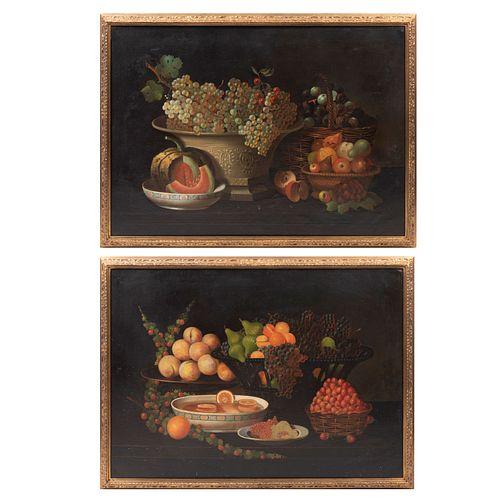 Lote de 2 obras. Anónimo. Bodegones. Óleos sobre tela. Enmarcados. 83 x 115 cm c/u.