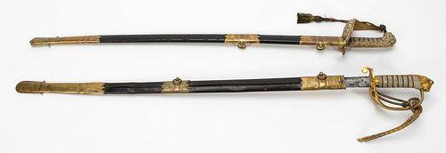 TWO ENGLISH NAVAL DRESS SWORDS