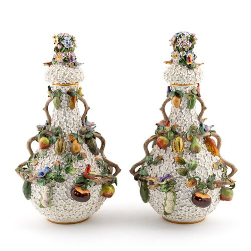 PAIR, EARLY MEISSEN SNOWBALL COVERED URNS
