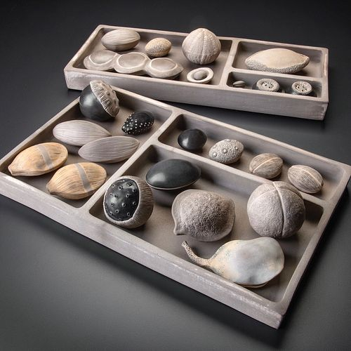 Smoke Fired Ceramic Sculpture:  Specimen Trays