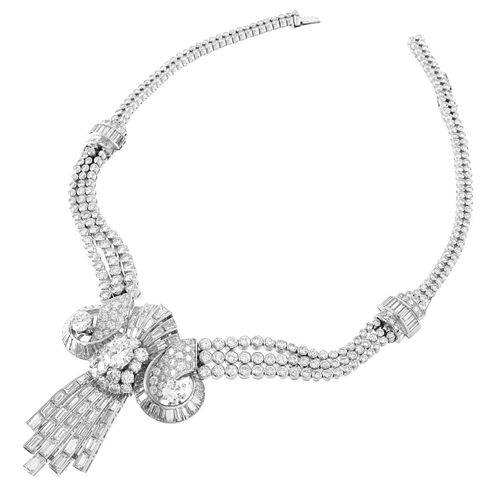 Retro Diamond and Platinum Necklace