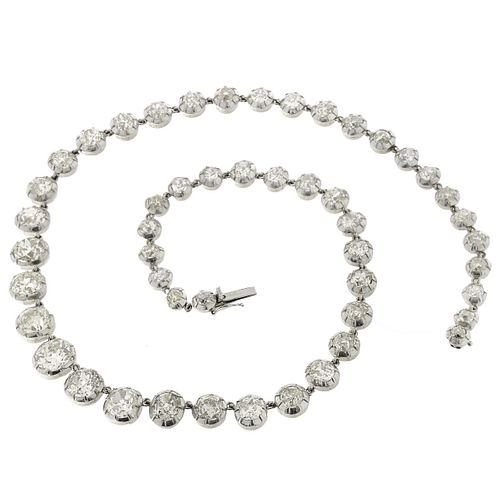 Antique Diamond, Platinum and 18K Necklace