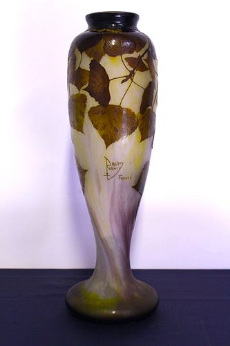 Monumental Nancy Daum Cameo Period Art Glass Vase