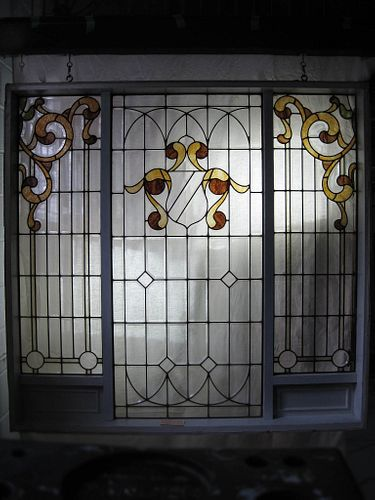 C. 1912 Stained/Leaded Beveled Glass Window