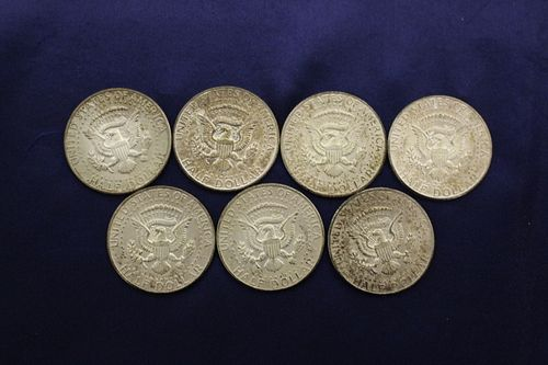 7 1964 50 cent Kennedy Coins