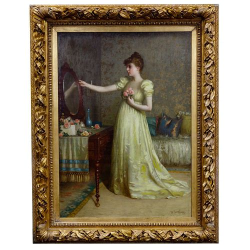 De Scott (David) Evans (American, 1847-1898) 'Figure at the Vanity - Finishing Touch' Oil on Canvas