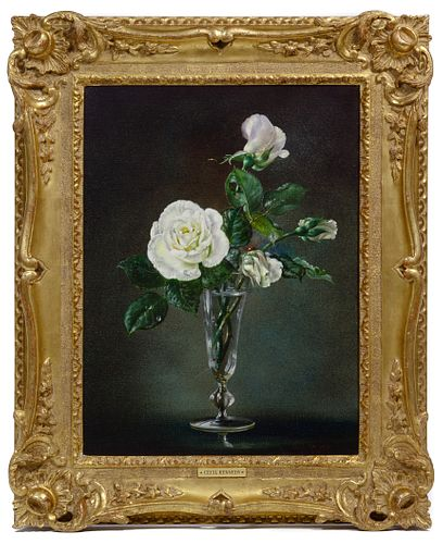 Cecil Kennedy (English, 1905-1997) 'White Roses' Oil on Canvas