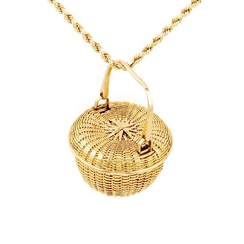 Covered Swing Handle Basket Necklace