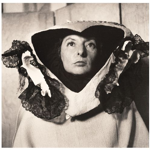 "KATI HORNA, Remedios Varo y la máscara, 1956, Signed on back Vintage print, 11 x 11"" USD $6,360-$9,100"
