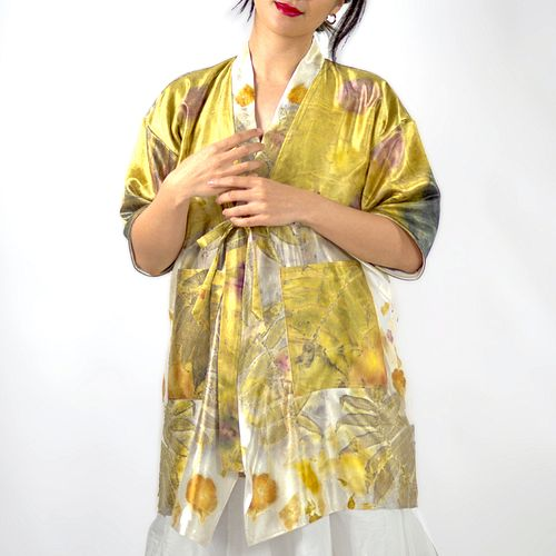 Gold, yellow and ivory silk jacket: Sumac, begonias, marigolds