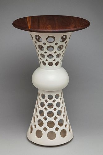 Segmented Hourglass Table with Walnut Top