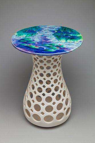 Hourglass Table With Painted Top