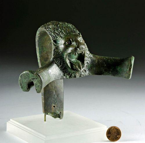Etruscan Bronze Hydria Handle Roaring Lion's Head
