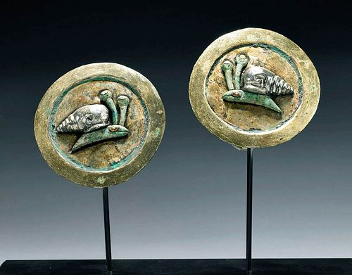 Matched Moche Gilt Copper Earspools w/ Silver Snails