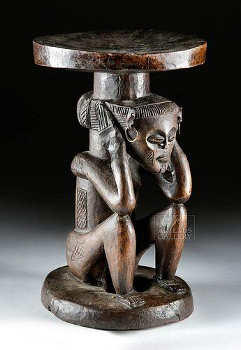 19th C. African Chokwe Wood Stool Female, ex-Sotheby's