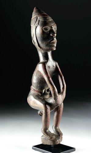 Early 20th C. African Bakongo Wood Figure, Drummer