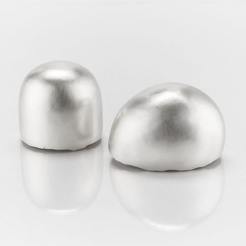 Pair of Bulbous Sterling Silver Vessels