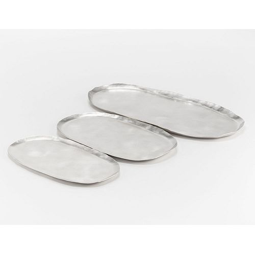 Set of 3 Rectangular Sterling Silver Serving Trays