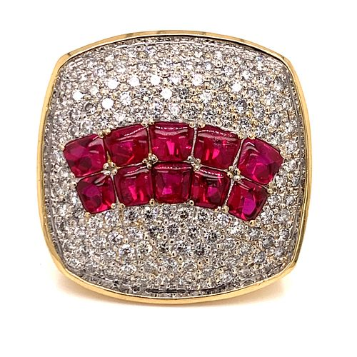 18k Diamond Ruby Big Ring