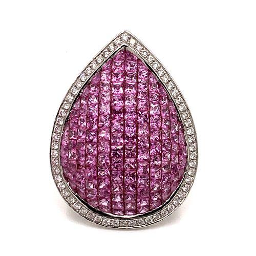 18k Pink Sapphire, Diamond Ring