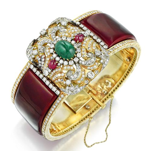 Multi-Colored Gemstone Diamond and Enamel Bangle Bracelet