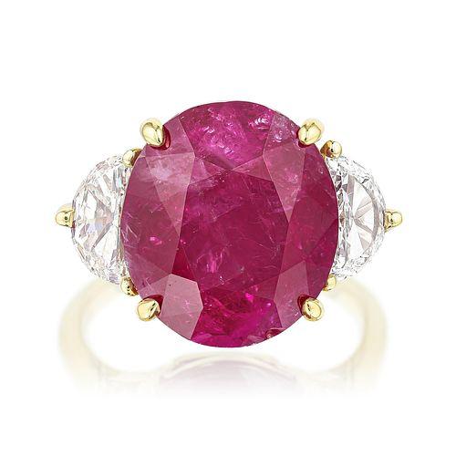 14.65-Carat Burmese Unheated Ruby and Diamond Ring