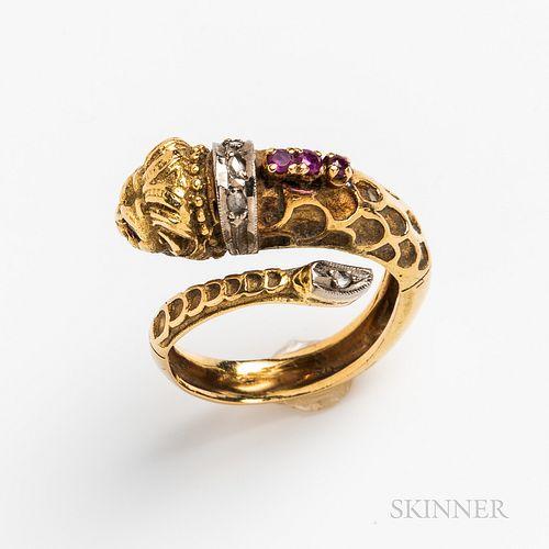 18kt Gold Gem-set Lion Ring
