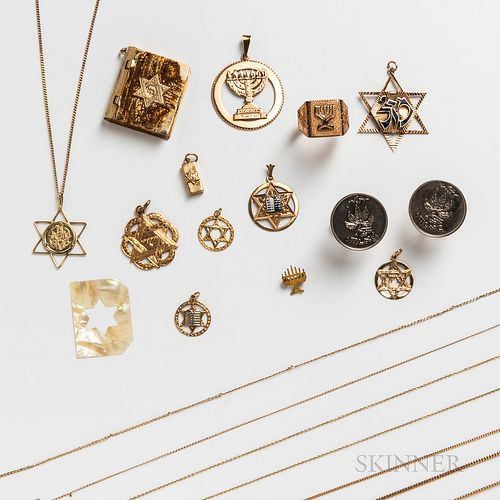 Group of Gold and Gold-plated Judaica Jewelry
