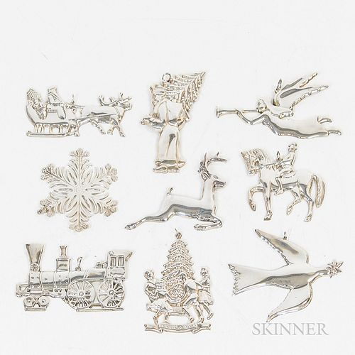 Group of Sterling Silver Christmas Ornaments