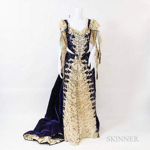 Charles Worth Purple Velvet Evening Gown