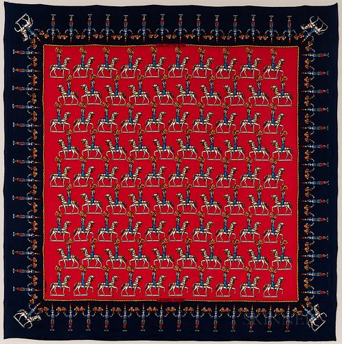"Framed Hermes ""Les Artificiers"" Navy and Red Silk Scarf"